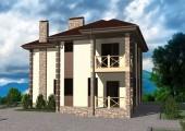 Проект двухэтажного дома с 2 спальнями, гостиной