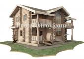 Проект дома из дикого бревна - канадский сруб