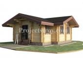 Проект одноэтажного дома из бруса 7.8 х 7.4 м