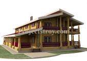 Дуплекс дом из бревна на две большие семьи