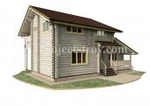 Деревянный дом из оцилиндрованного бревна 12 х 9 м