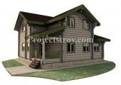 Загородный дом из лафета 10.4 х 10.3 м