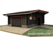 Проект гаража из бревна 6.5 х 8.5 м