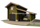 Проект гаража с комнатой и навесом