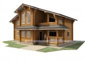 Загородный дом из бревна размером 15.1 х 11.9 м