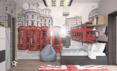Детская комната для подростка в тематике Лондона