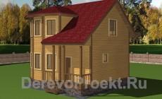 Проект дома 7х7 с эркером из бруса 140х140мм.