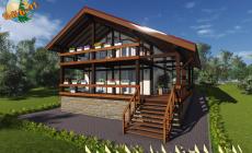 Деревянный жилой дом по технологии фахверк КФ-314