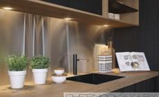 Черная кухня из массива ясеня в стиле Лофт Loft