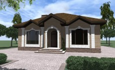 Проект одноэтажного дома с 2 спальнями и гостиной