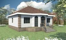Типовой эскизный проект одноэтажного дома с тремя