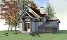 Готовый эскизный проект 1-этажного дома с мансардо