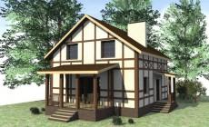 Готовый проект 1-этажного дома с мансардой и гарде