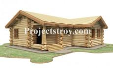Проект деревянного одноэтажного дома - дикий сруб