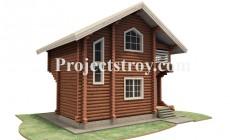 Проект двухэтажной деревянной бани из бревна 220
