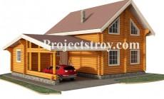 Дом из бревна с навесом под автомобиль 12 х 9 м