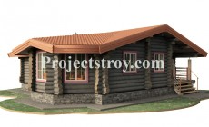 Одноэтажный бревенчатый дом из ОЦБ - 11.2х9.7 м
