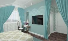 Голубая спальня в мансарде.