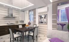 Проект гостиной совмещенной с кухней и лоджией.