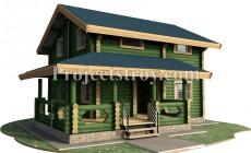 Проект дома из оцилиндрованного бревна 10 х 10 м