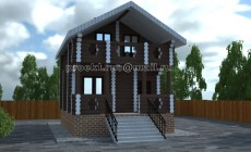 жилой дом из оцилиндрованного бревна 7500х5600