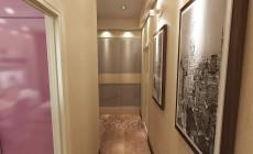 Маленькая прихожая 5 кв. м и длинный коридор в современном стиле.