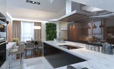 Гостиная 40 кв. м для семьи с двумя детьми в современном стиле.