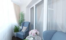 Гостиная 20 кв. м с балконом в классическом стиле с элементами ар-деко для пожилой пары.
