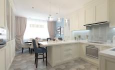 Кухня - столовая 20 кв. м, выполненная в неоклассическом стиле.
