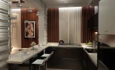 Большая гостиная-кухня 30 кв. м в современном стиле.
