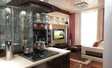 Гостиная-кухня 20 кв. м в современном стиле.