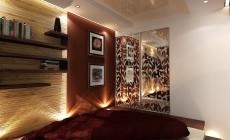 Спальная комната 16 кв. м, выполненная в современном стиле с элементами азиатской этники.