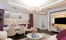 Большая гостиная 30 кв. м в, выполненная в стиле современная классика.