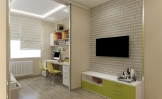Детская комната 18 кв. м в современном стиле для двух детей.