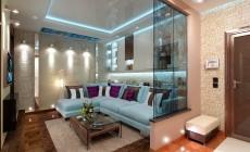 Гостиная 20 кв. м в современном стиле для молодой пары.