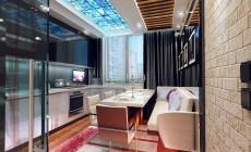 Кухня 16 кв. м в современном стиле для молодой пары.