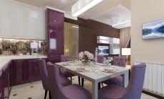 Гостиная-кухня 30 кв. м в современном стиле, с элементами классики.