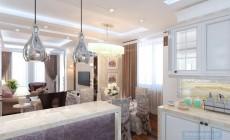 Гостиная-столовая 40 кв. м в загородном коттедже, выполненная в классическом стиле.