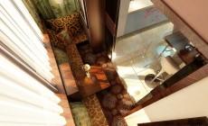 Лоджия, прилегающая к кухне, выполненной в стиле эклектика