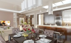 Гостиная-кухня в загородном доме в современном стиле