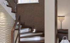 Холл и лестница в загородном доме, современный стиль