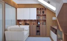 Рабочий кабинет в мансарде частного загородного дома, современный стиль