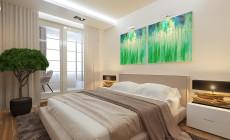 Спальная комната 14 кв. м с лоджией в современном стиле