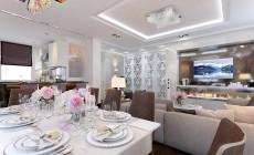 Гостиная-столовая 45 кв. м в загородном коттедже, выполненная в классическом стиле