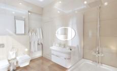 Ванная комната 7 кв. м для детей в современном классическом стиле
