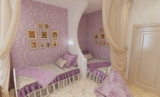Детская комната для девочек в современном классическом стиле