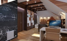 Рабочий кабинет в мансарде дома, выполненный в современном классическом стиле