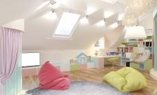 Детская игровая комната, расположенная в мансарде частного дома