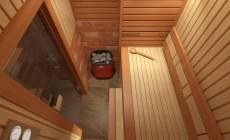 Сауна и ванная комната в мансарде загородного частного дома