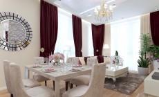 Гостиная 30 кв. м в трехкомнатной квартире, выполненной в классическом стиле